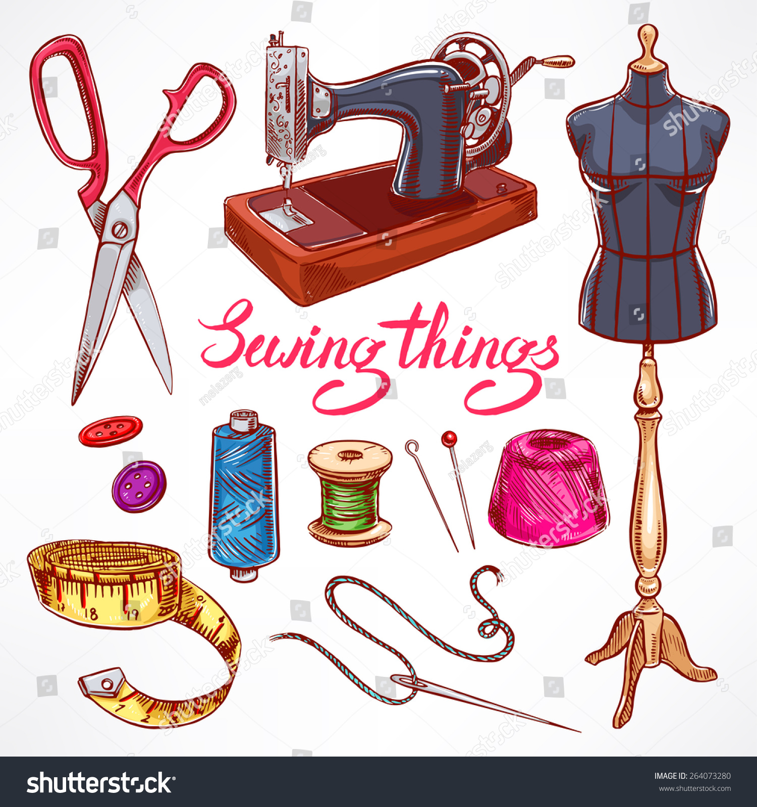 Set Sketch Tailoring Equipment Mannequin Sewing Stock ...