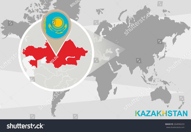 World map magnified kazakhstan kazakhstan flag stock vector world map with magnified kazakhstan kazakhstan flag and map gumiabroncs Images