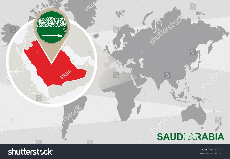 World Map Magnified Saudi Arabia Saudi Stock Vector Royalty Free