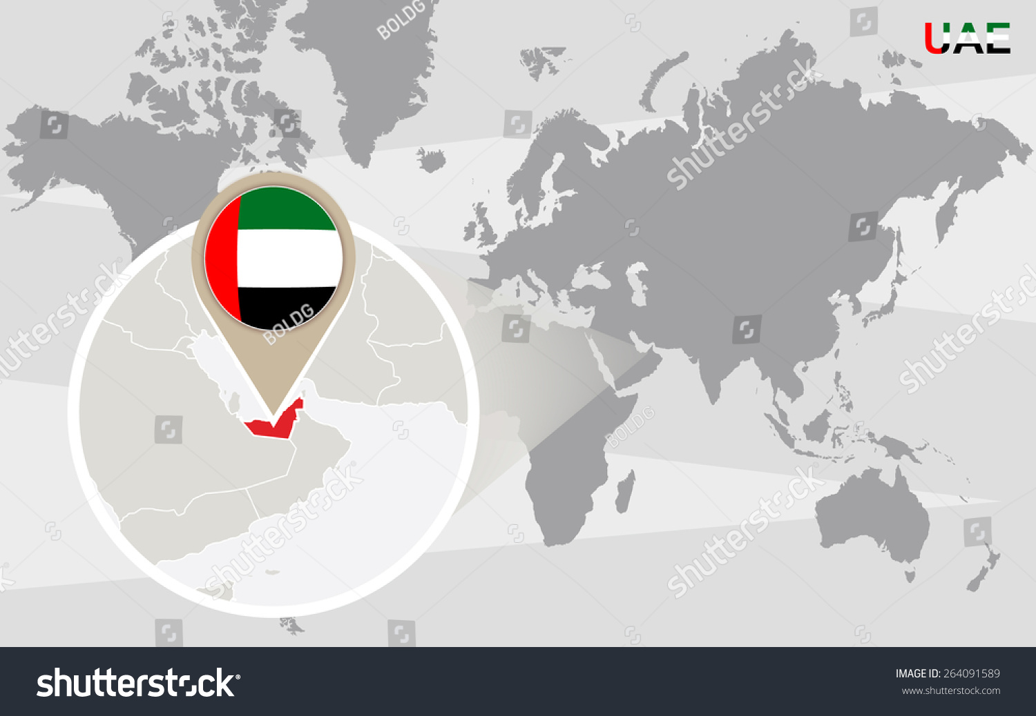World map magnified united arab emirates stock vector 264091589 world map with magnified united arab emirates uae flag and map sciox Gallery