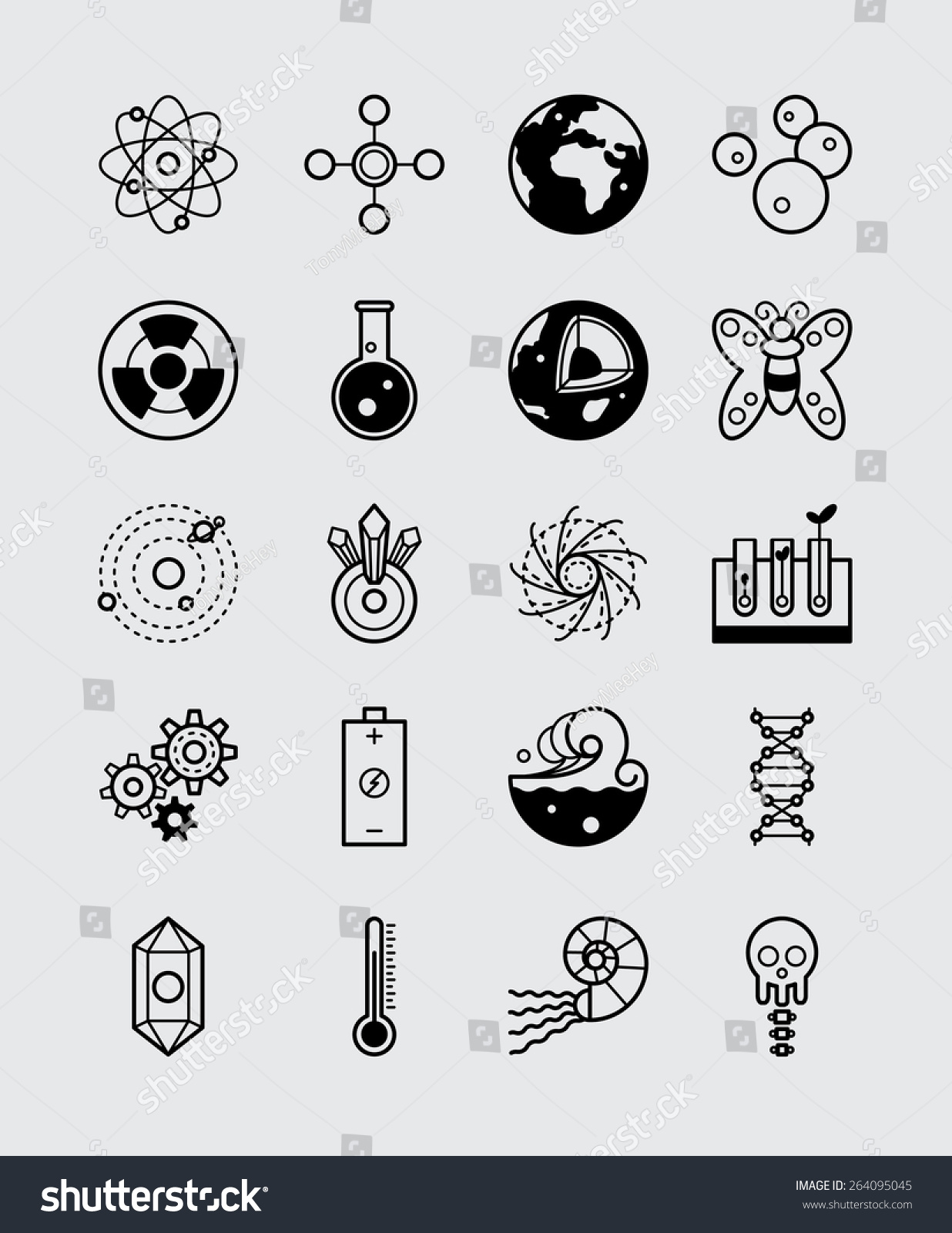 20 Science Icons Branches Science Black Stock Vector Royalty Free 264095045