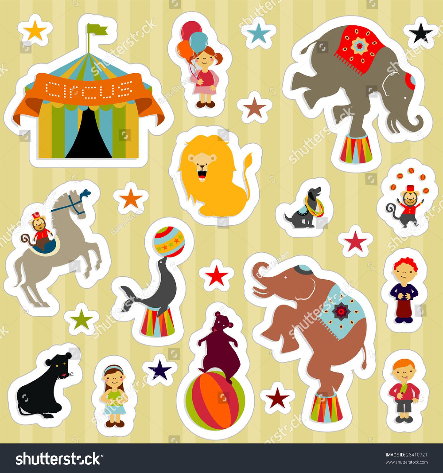 Circus Elements Like Elephants Horse Lion Stock Vector 26410721 ...