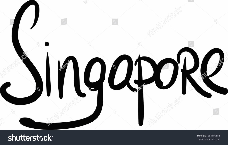 Singapore handlettered country capital handmade