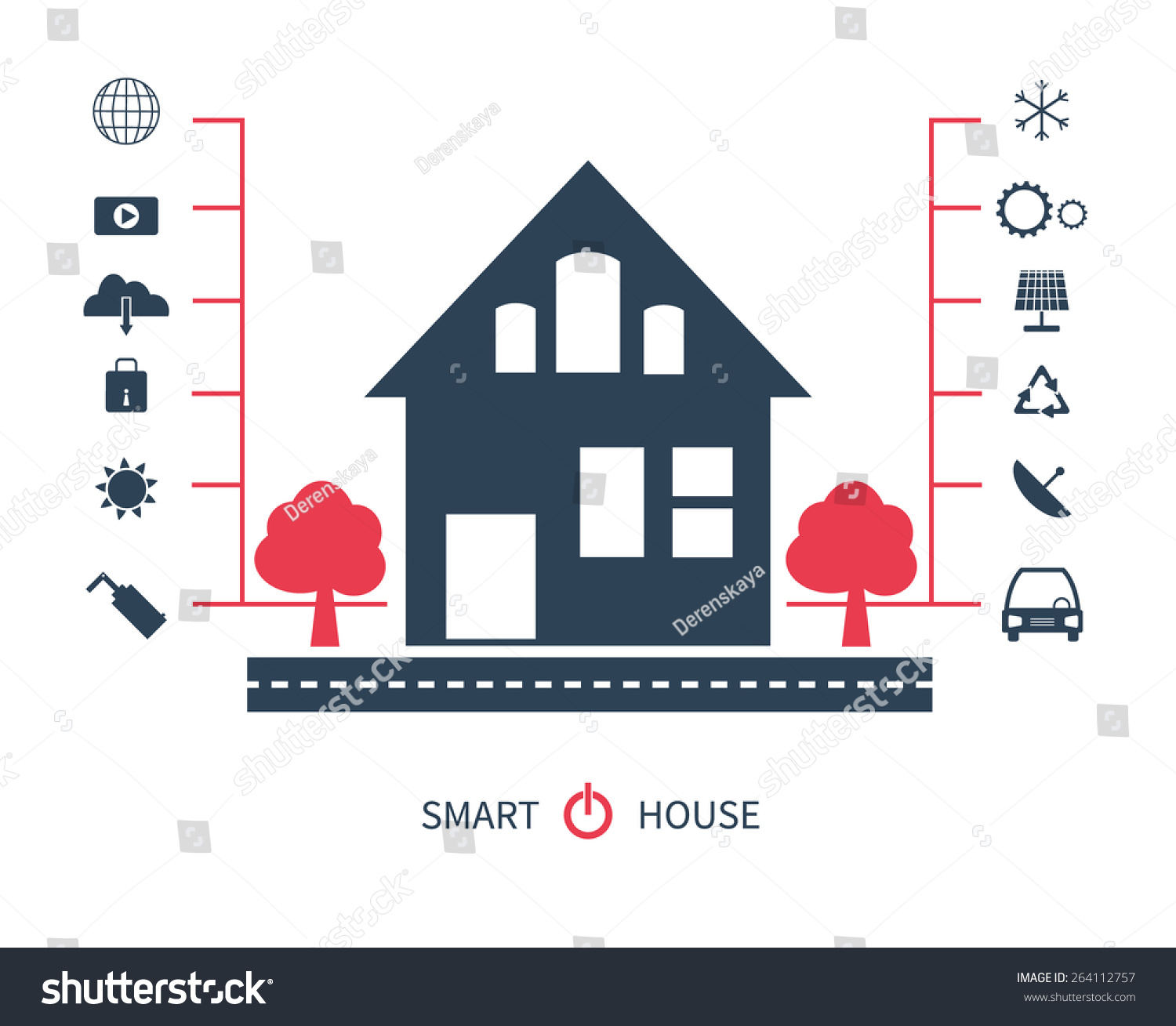 Vector Flat Illustration Concept Smart House Stock Vector