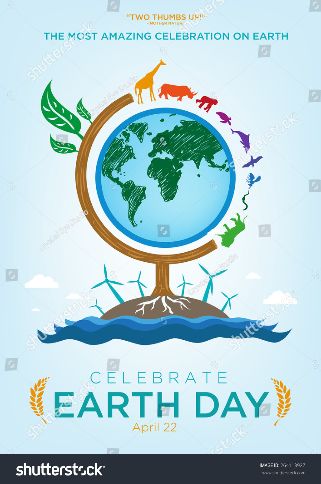 Poster design sample - Earth Day Celebration Poster Design Template With Animals Roaming Around A Globe Themed Tree Also