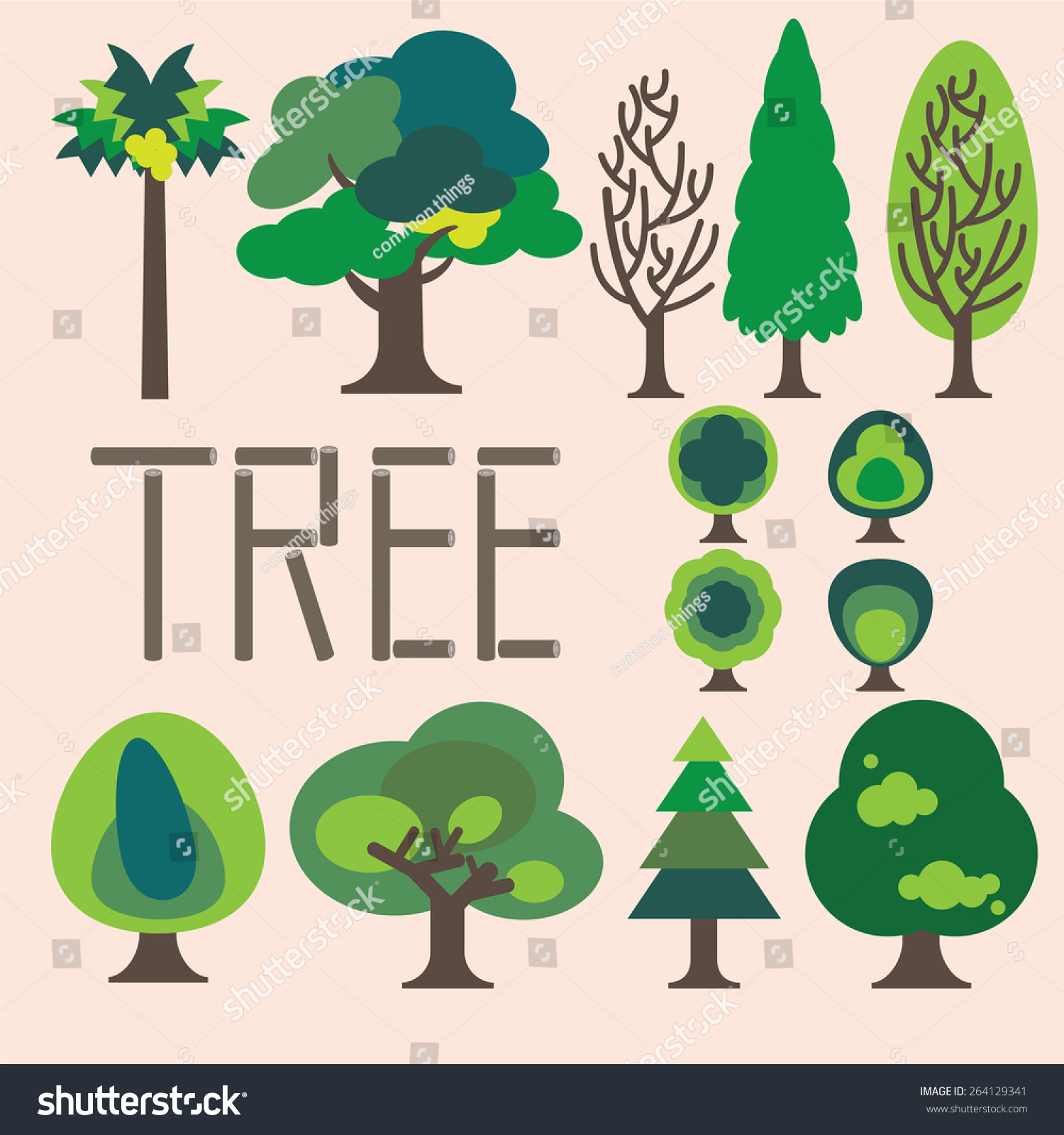Tree collection Simple Graphic Trees Green Trees Stock ...