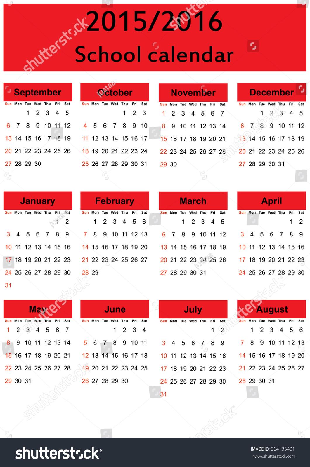 Year Calendar Vector : School calendar on new year stock vector