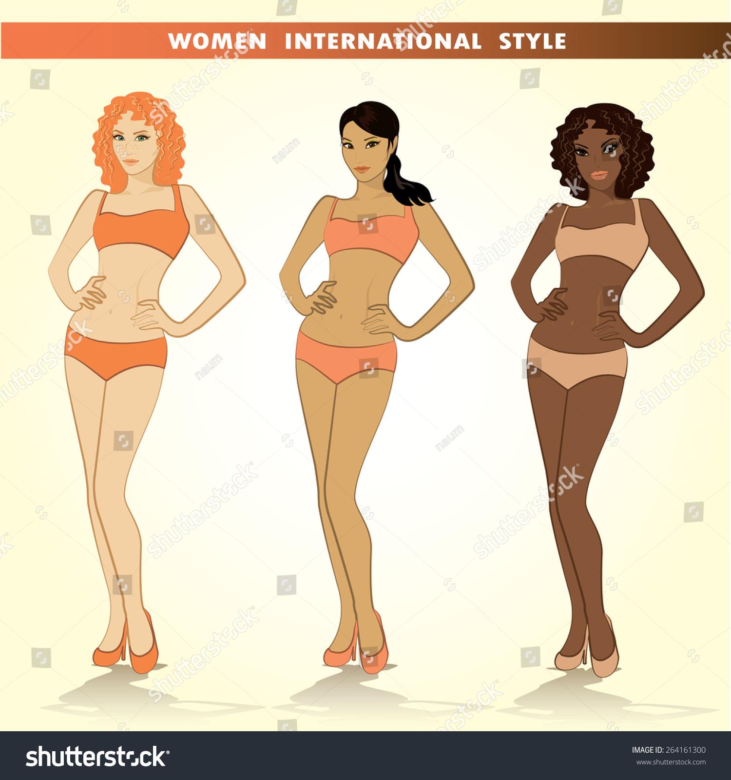 Set Three Different Girls Their Underwear Stock Vector 264161300 ...