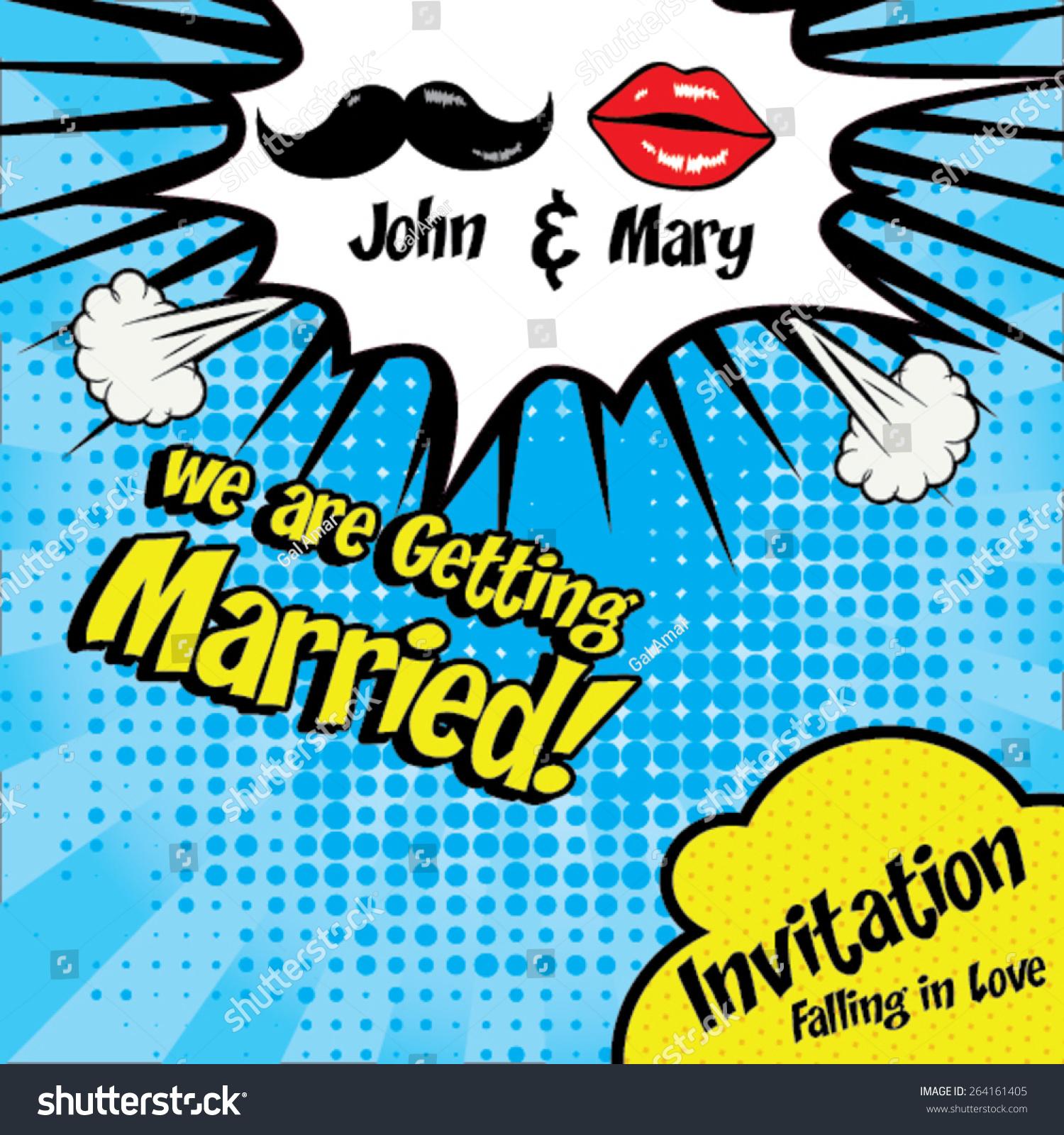 We Getting Married Pop Art Wedding Stock Vector 264161405 ...