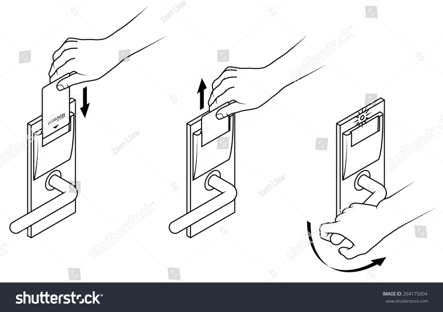 Electronic keycard door opening instructions diagram stock photo electronic keycard door opening instructions diagram insert and remove card top slot ccuart Gallery