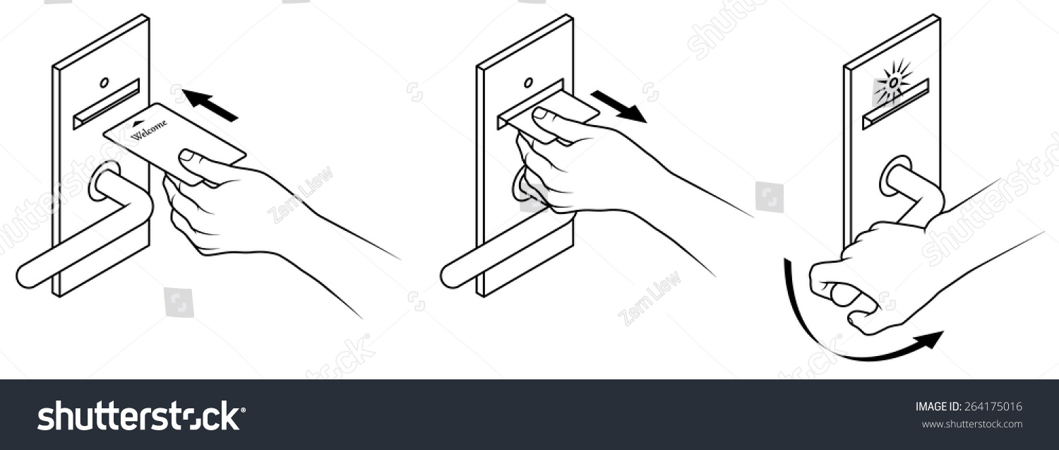 Royalty free electronic keycard door opening 264175016 stock photo electronic keycard door opening instructions diagram insert and remove card front slot 264175016 ccuart Images