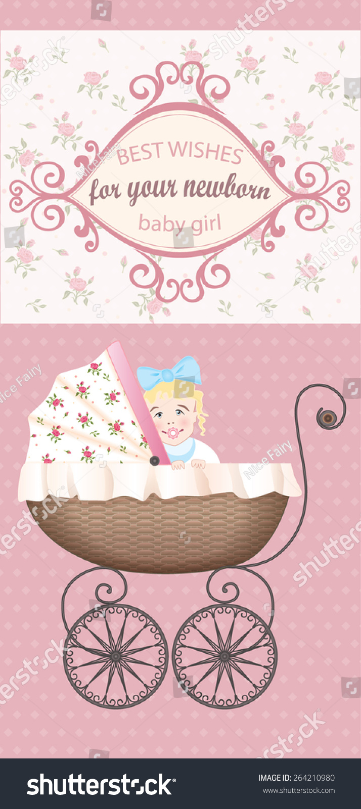 newborn baby girl congratulations vector vintage greeting card