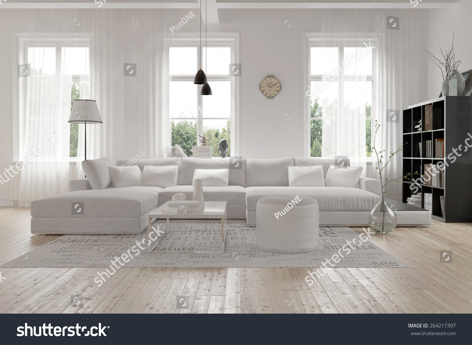 Modern spacious lounge living room interior stock for Interior design images lounge