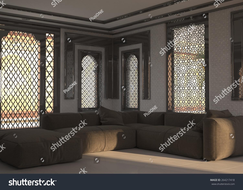 Living room interior street level ornate stock for Aggiunte alle suite modulari