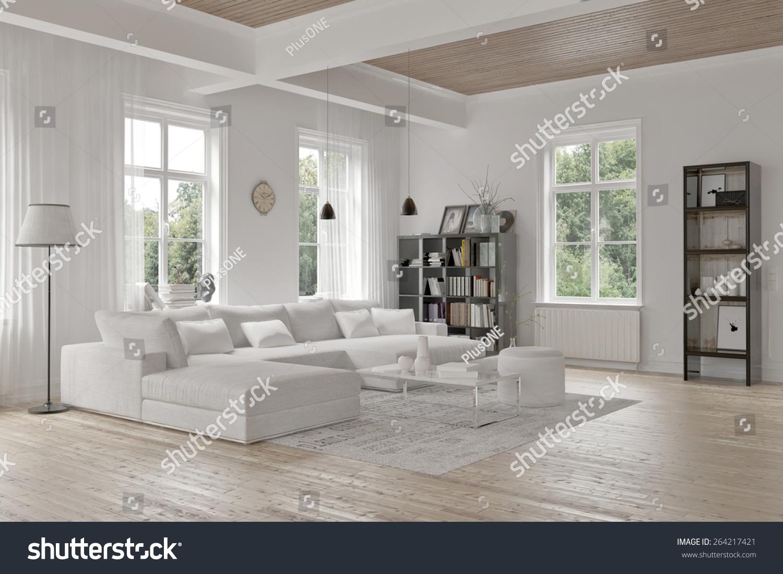Modern loft living room interior monochromatic stock for Monochromatic living room ideas
