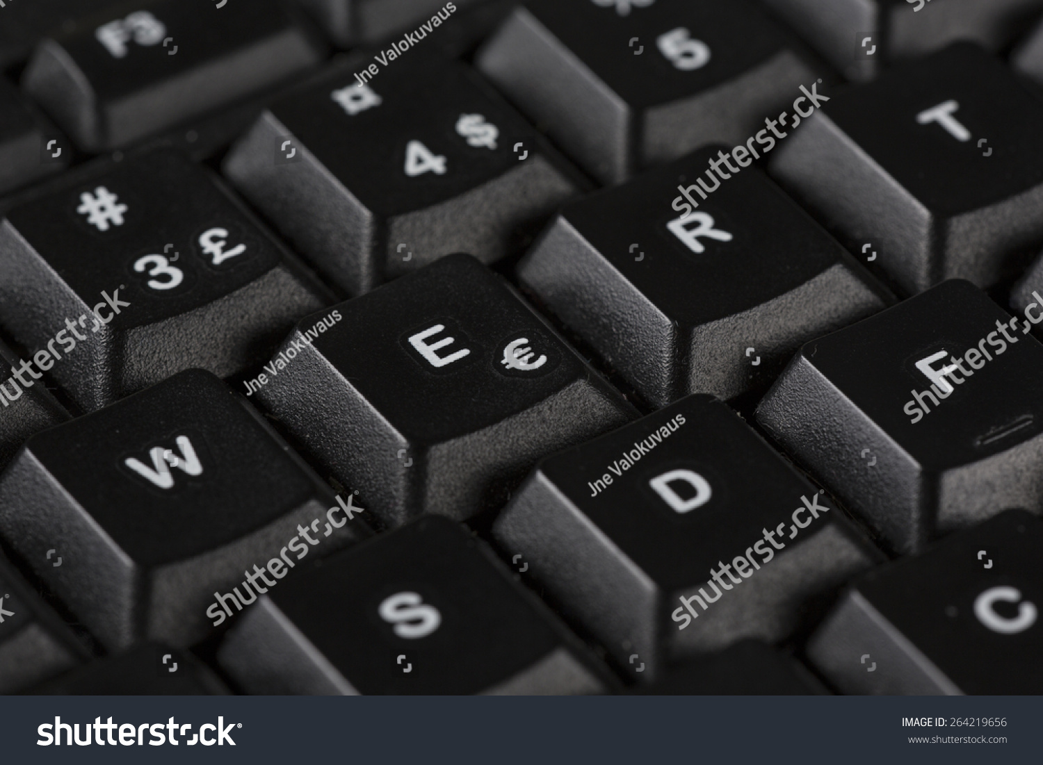 Macro Shot Black Keyboard E Euro Stock Photo Royalty Free