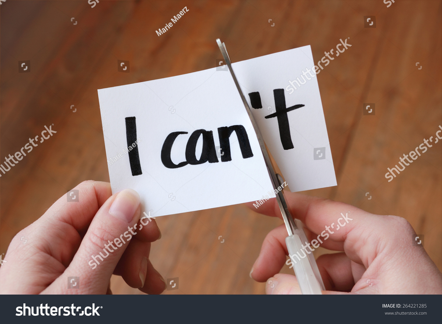Can Self Motivation Cutting Letter T Stock Photo 264221285 ...