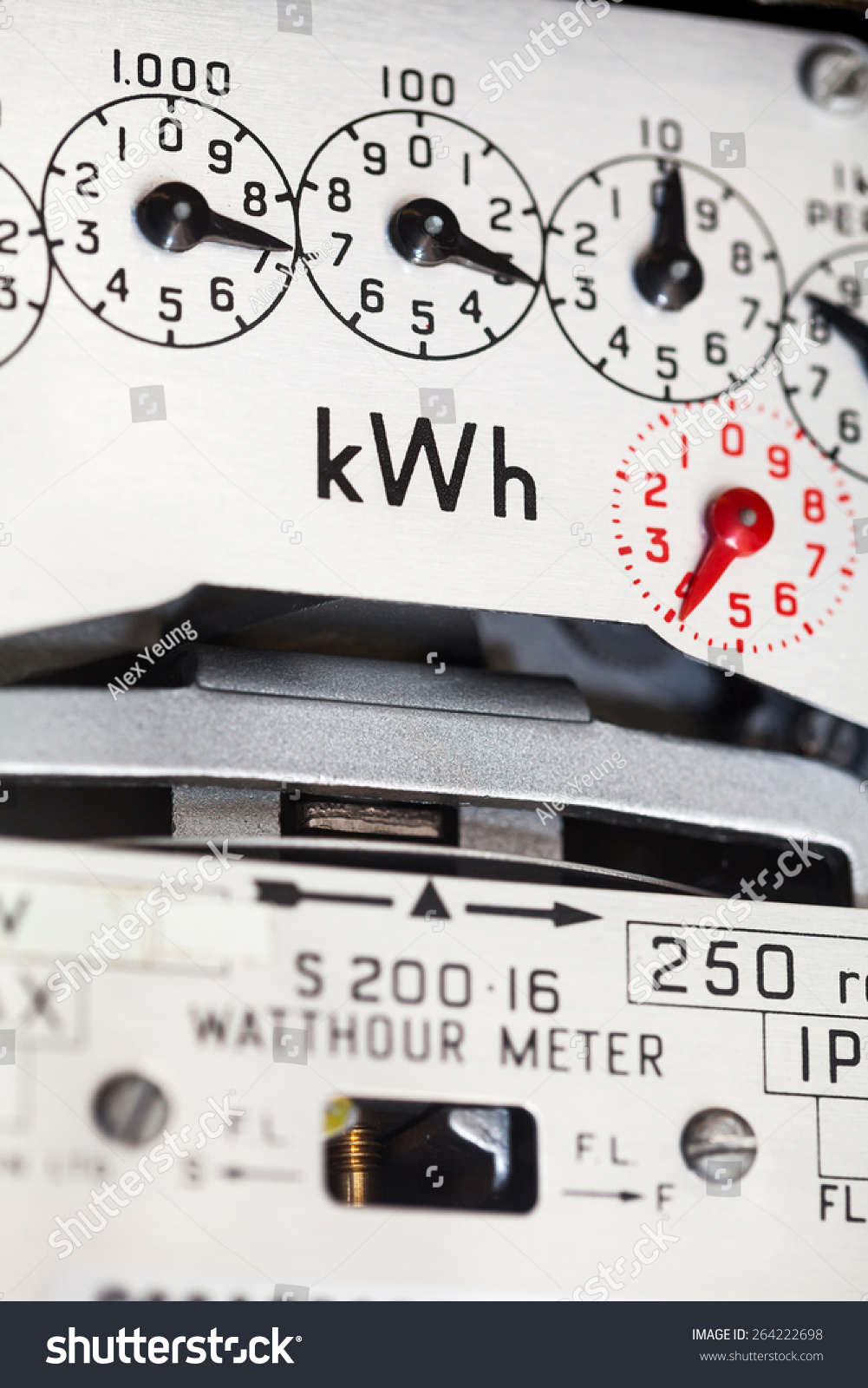Closeup Electric Meter Showing Dials K Wh Stock Photo (Safe to Use ...