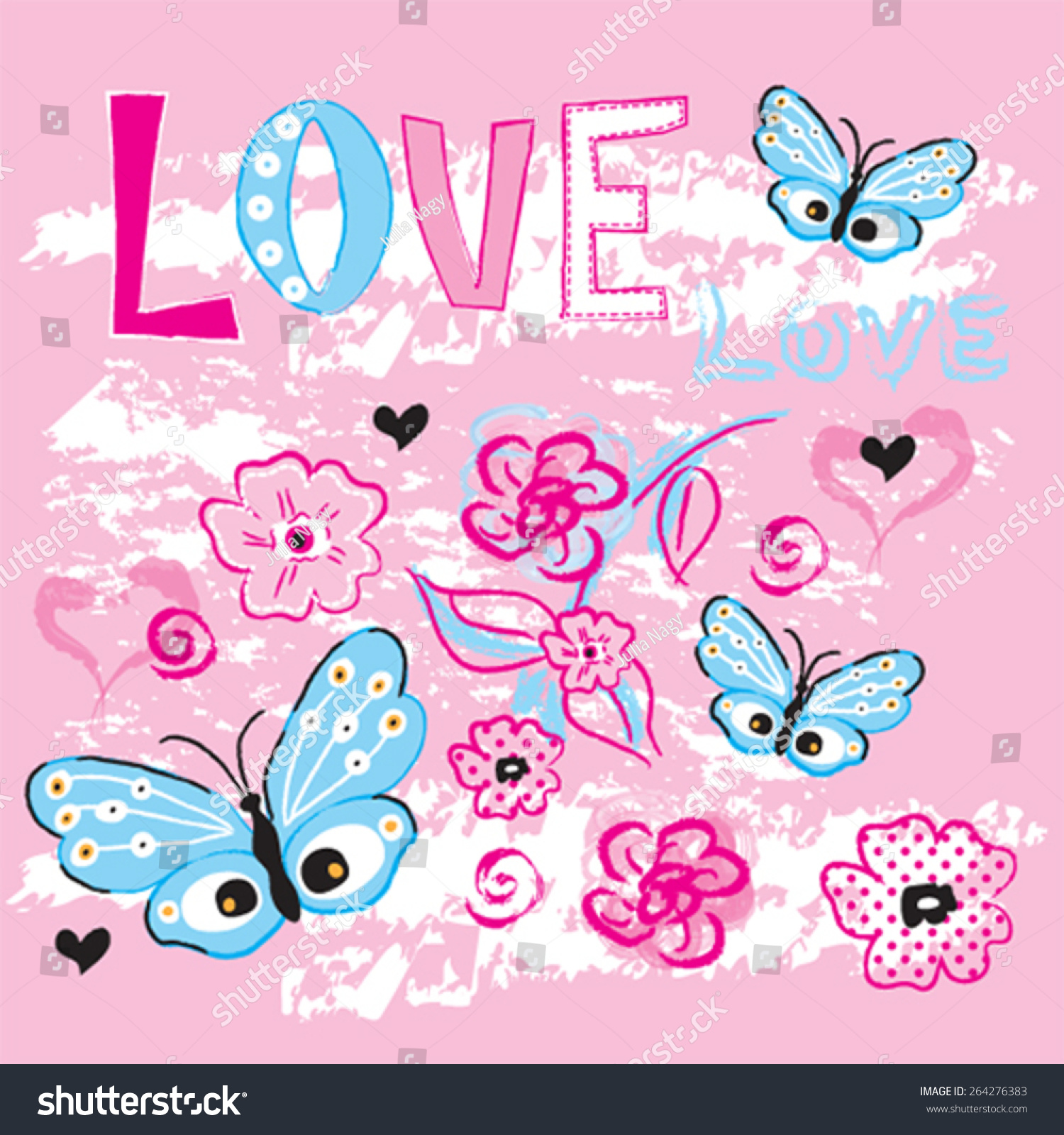 Shirt design card - Beautiful Butterfly With Flowers T Shirt Design Love Card Vector Illustration