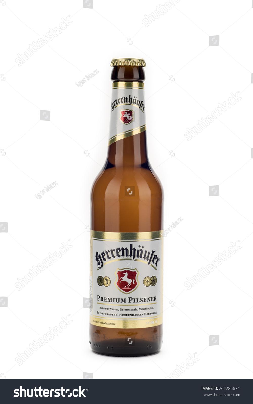 Hannover germany march 27 2015 bottle of herrenhauser premium pilsener beer
