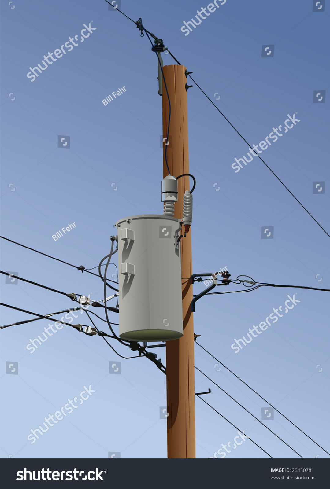 Electrical Utility Pole Transformer Wires Insulators Stock ...