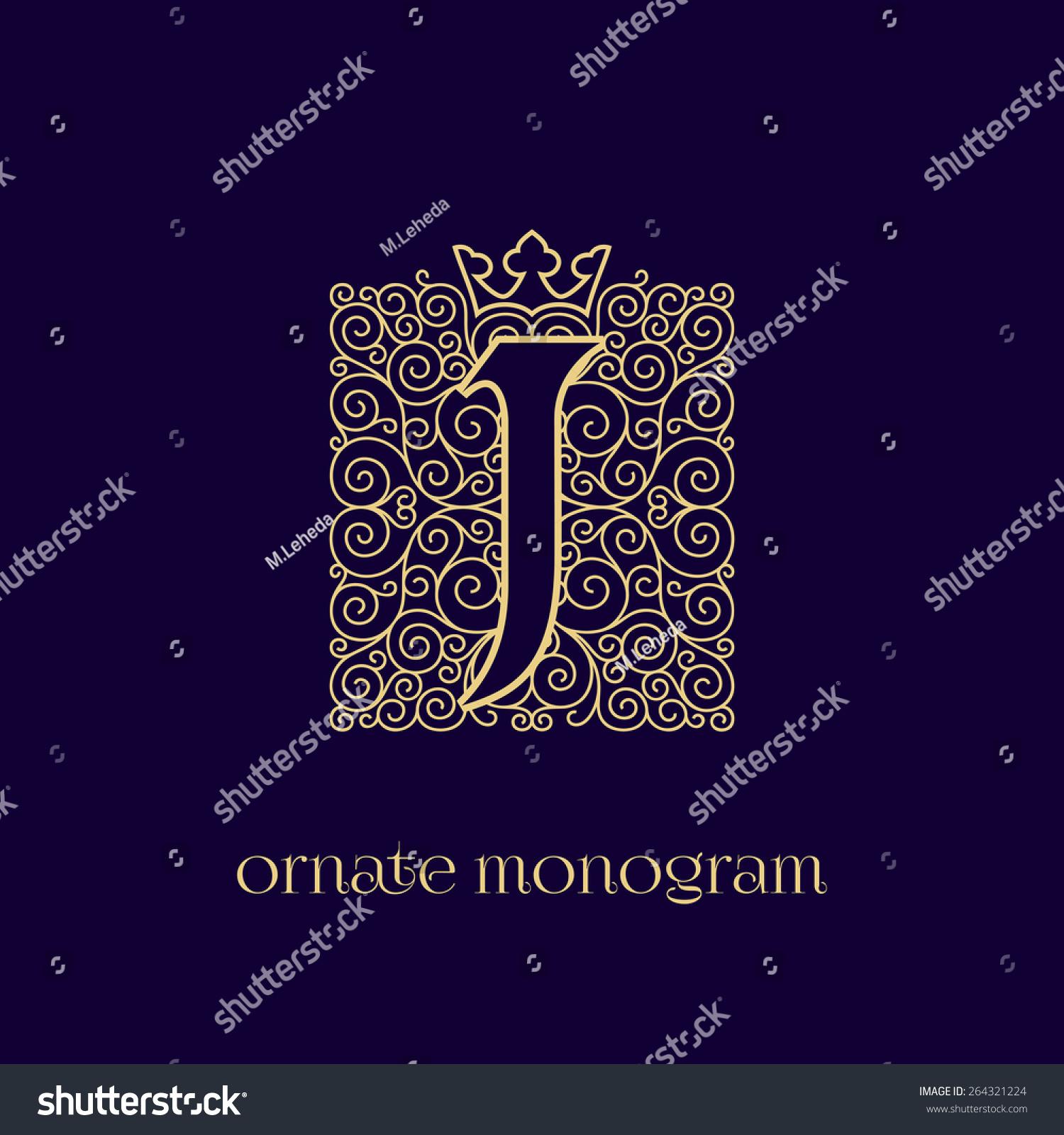 Ornate Elegant Monogram Design Single Letter Stock Vector 264321224