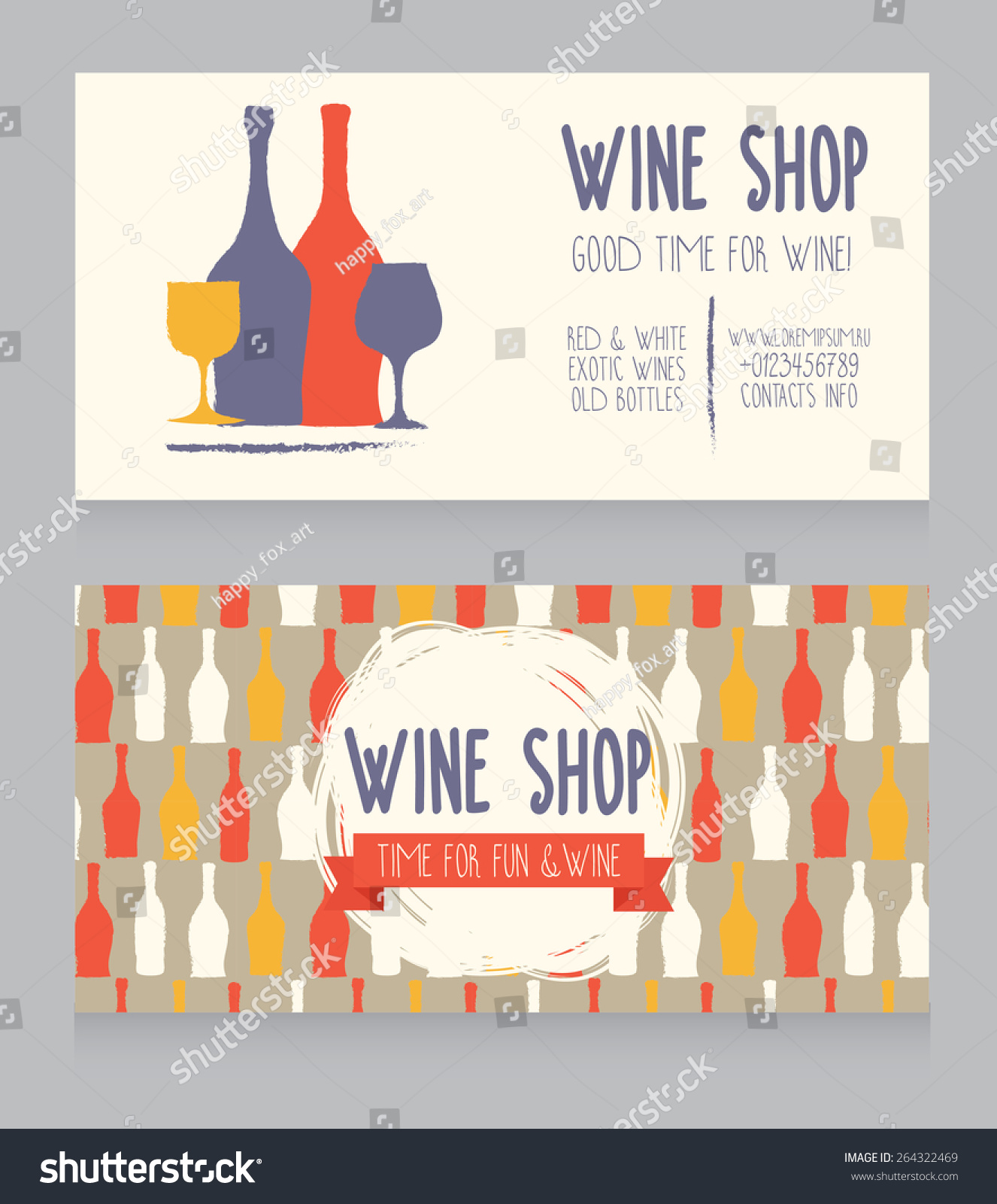 Template Wine Shop Business Card Colorful Stock Vector 264322469 ...