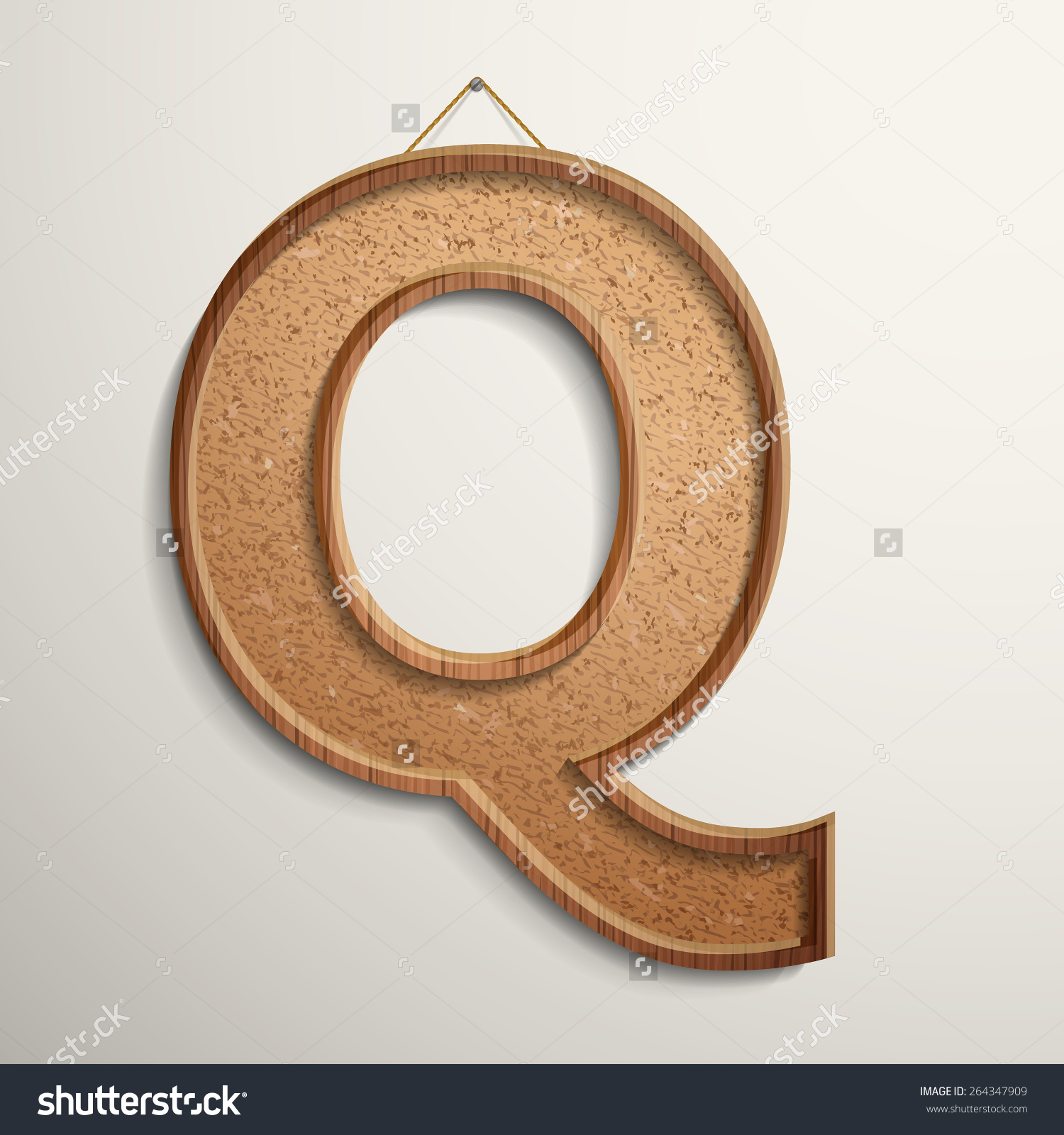 3d cork board texture letter Q isolated on beige background