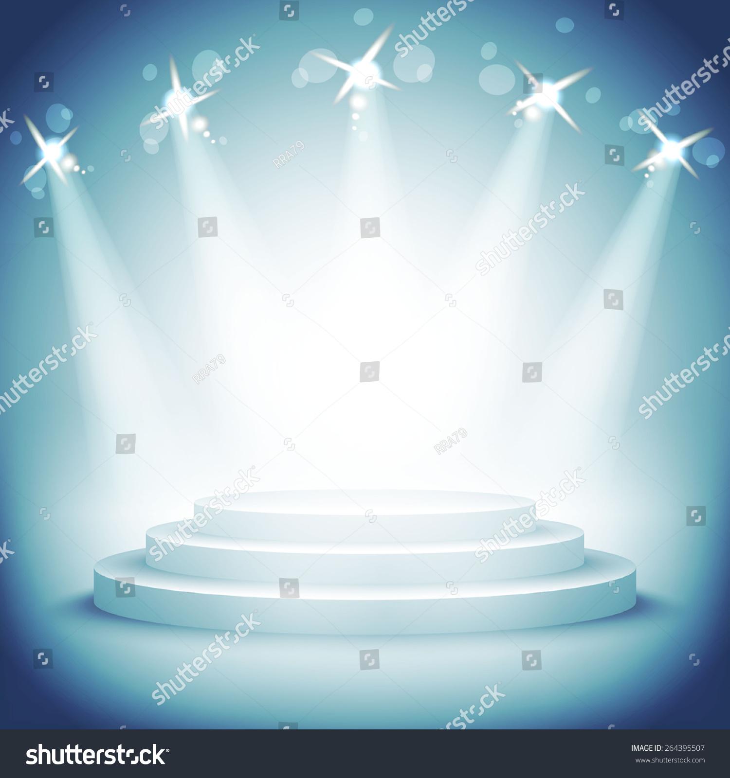 Illuminated Stage Podium Award Ceremony Vector Stock