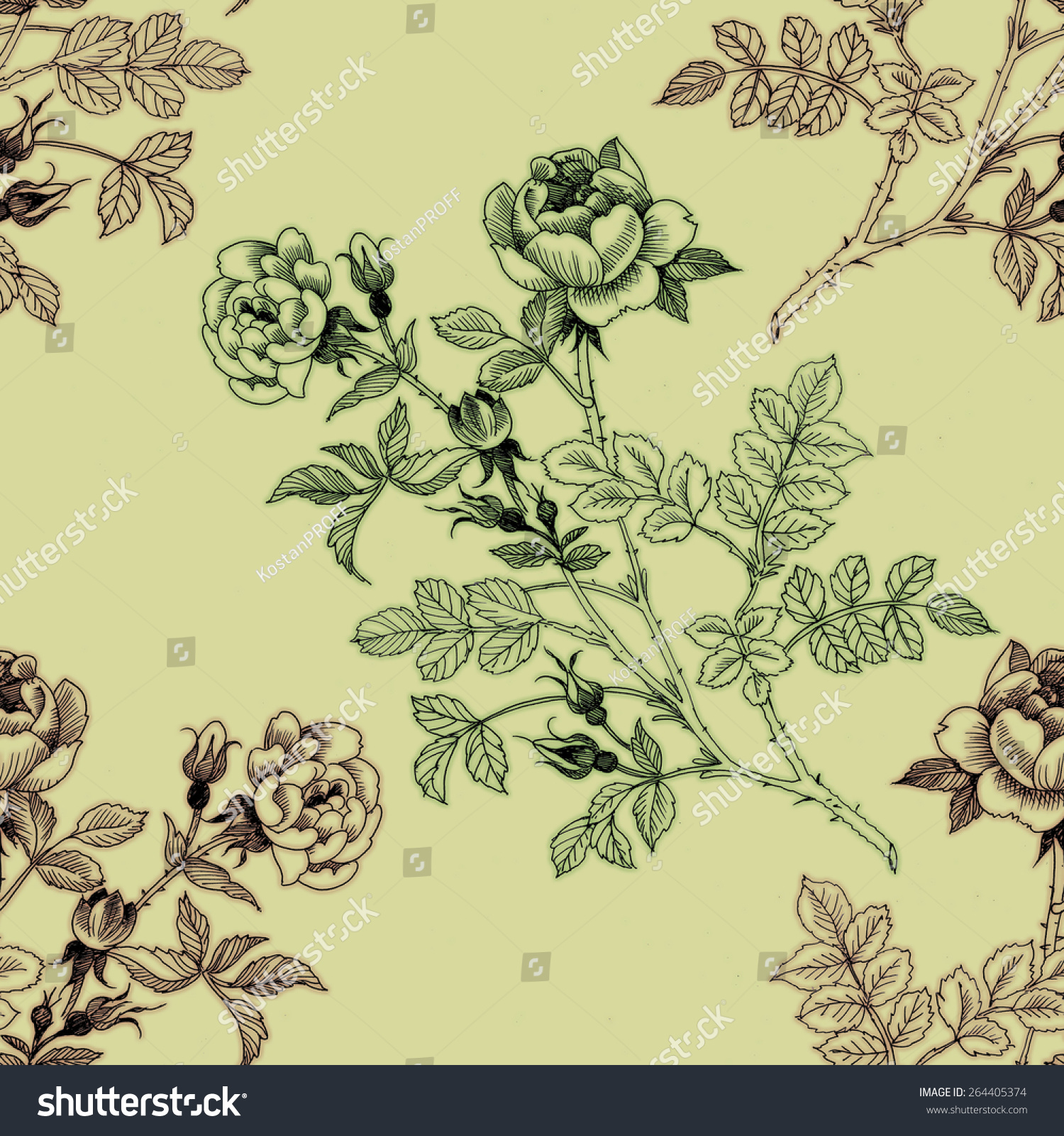 Floral ornament with branches in vintage style | EZ Canvas