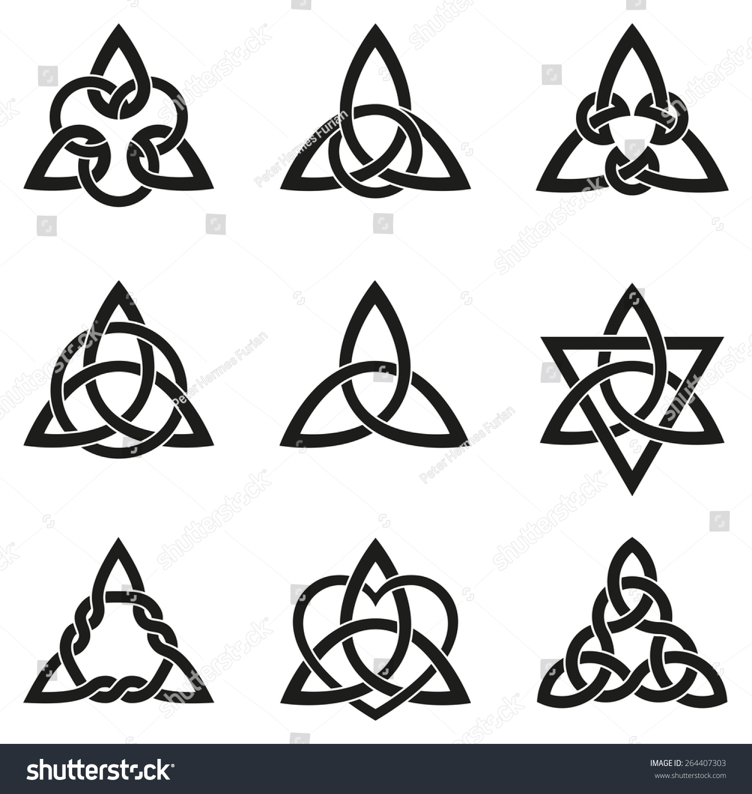 Celtic knots used decoration tattoos nine stock vector 264407303 celtic knots used for decoration or tattoos nine endless basket weave knots these knots buycottarizona