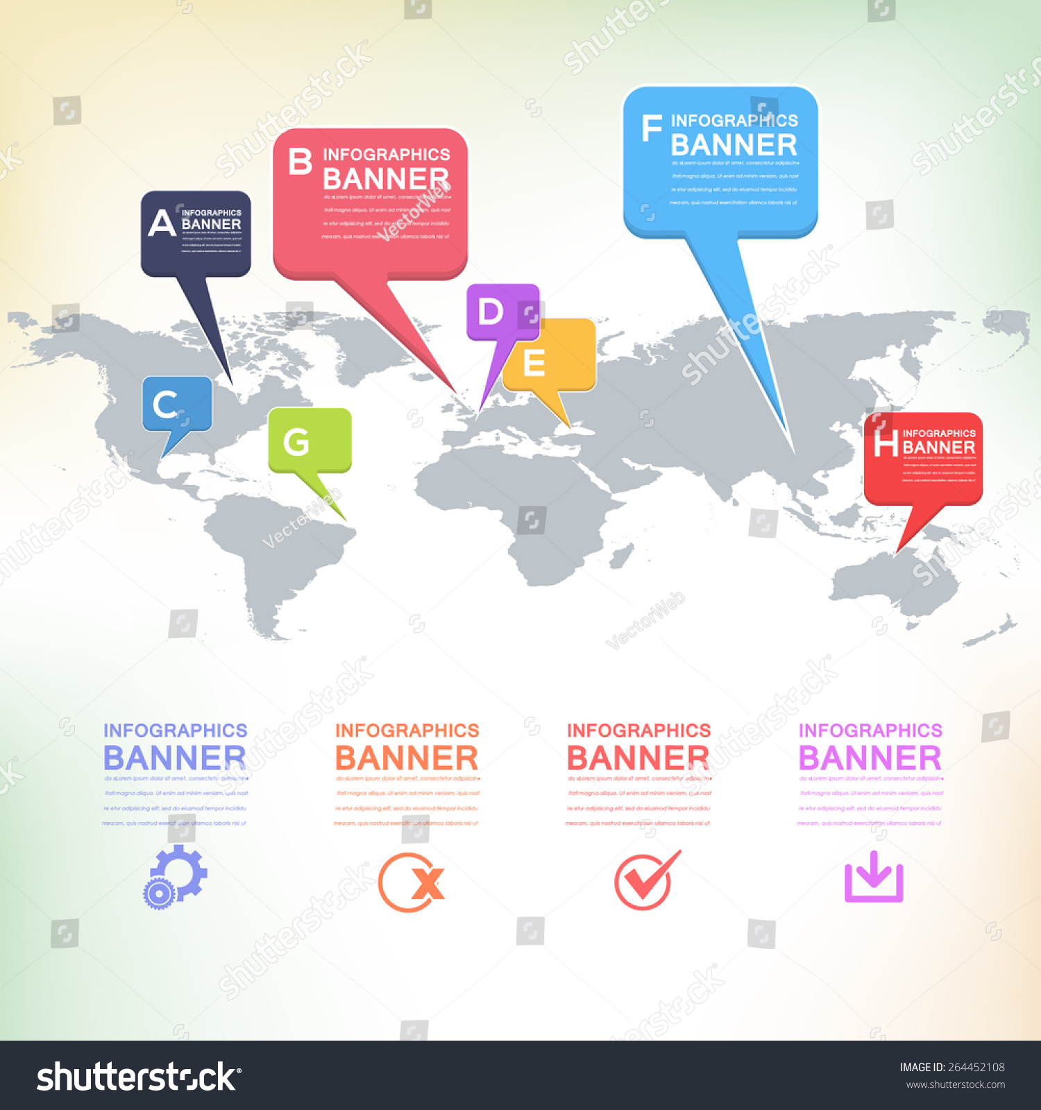 Flat style world map design infographics stock vector hd royalty flat style world map design and infographics speech bubble icons on blurred background gumiabroncs Images