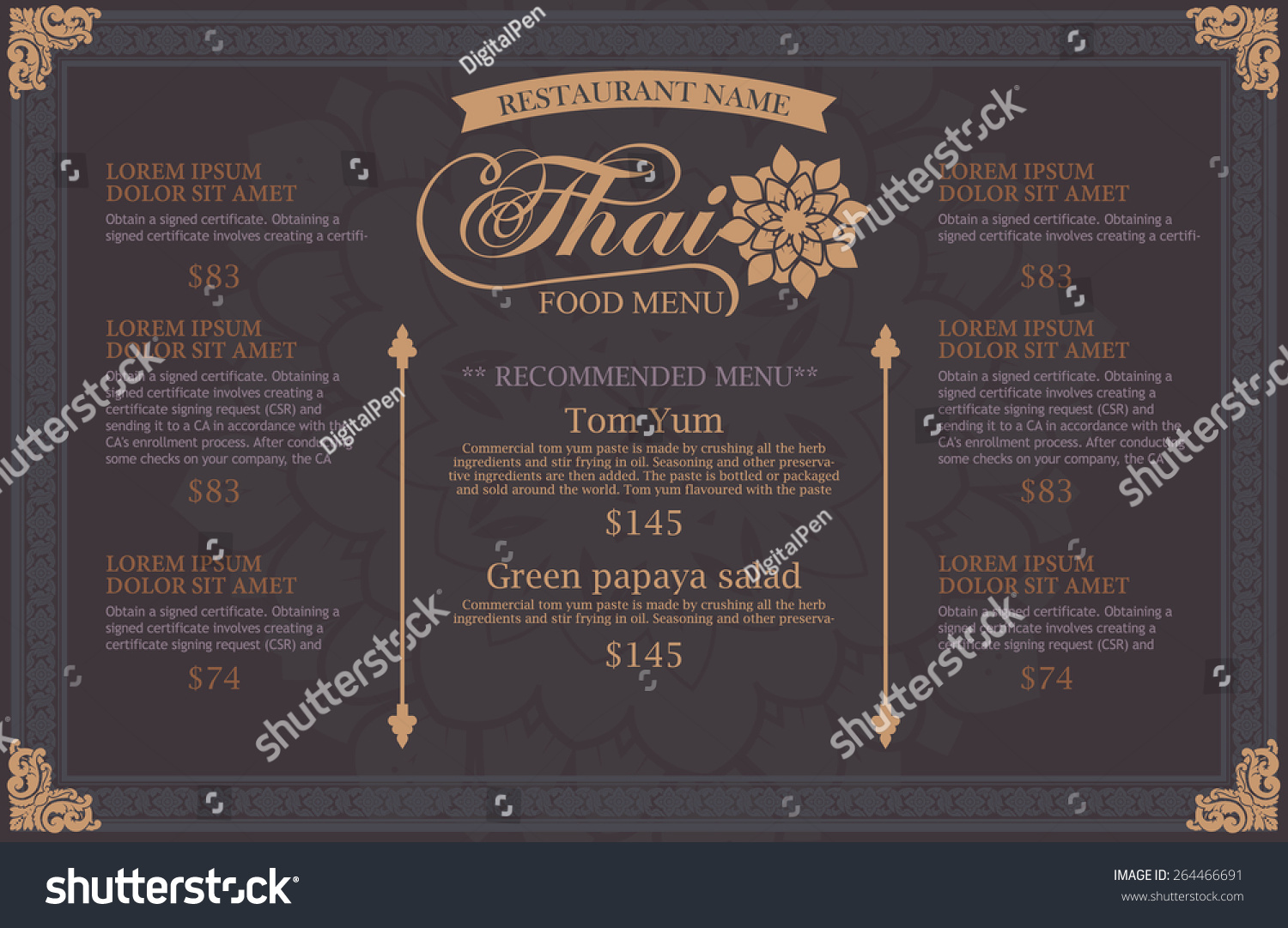 Restaurant menu design thai art stock vector illustration for Artistic cuisine menu