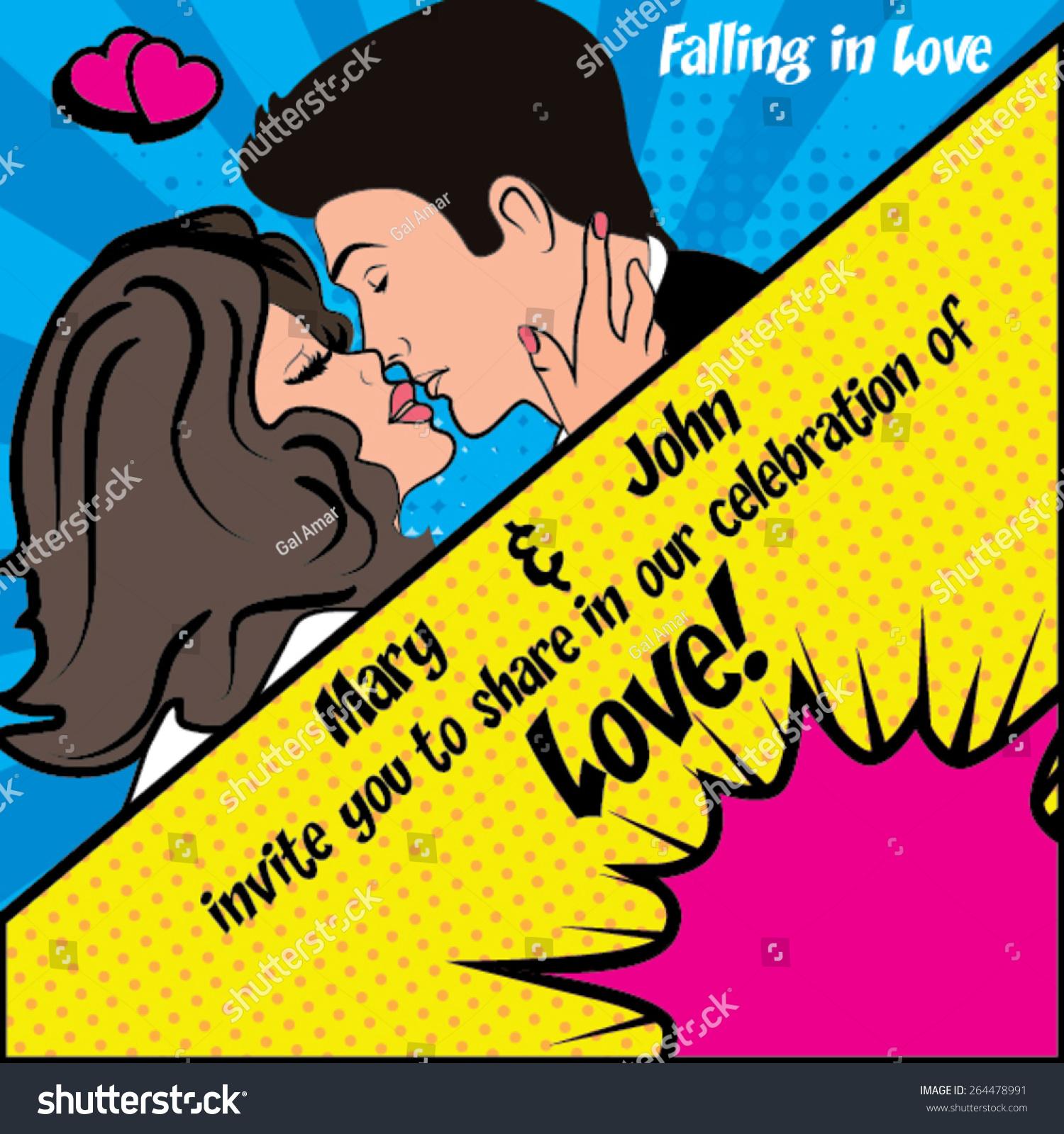 Falling Love Pop Art Wedding Cartoon Stock Vector 264478991 ...