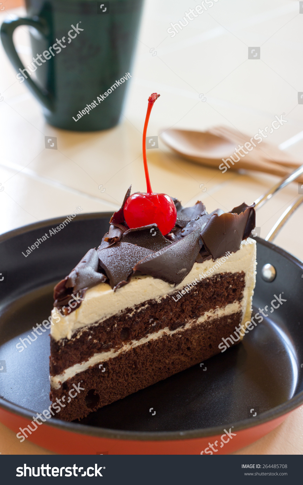 Delicious Slice Chocolate Cake With Cherry On Top Stock Photo ...