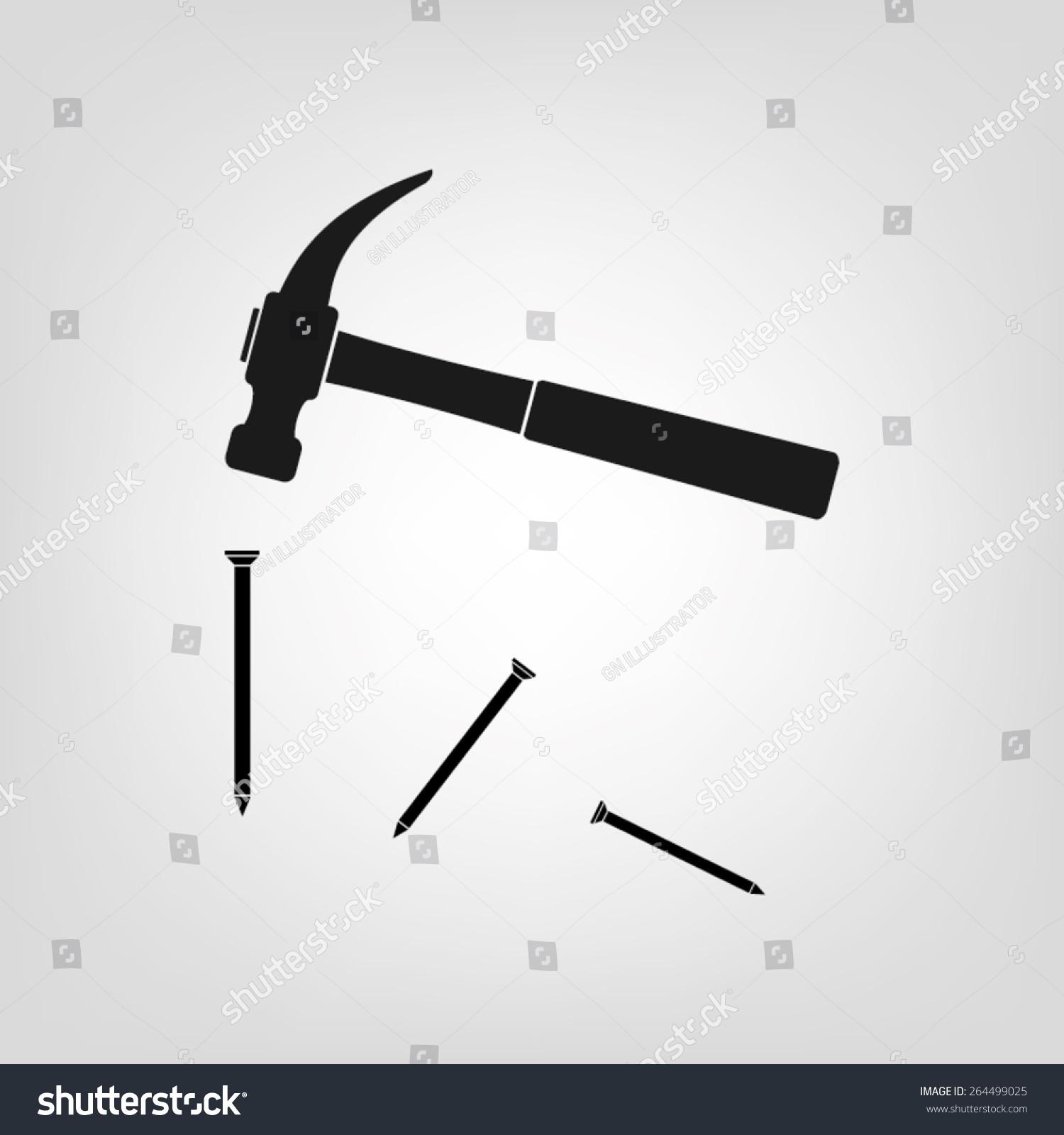 Vector Illustration Hammer: Hammer Nails Icon Vector Illustration Eps10 Stock Vector