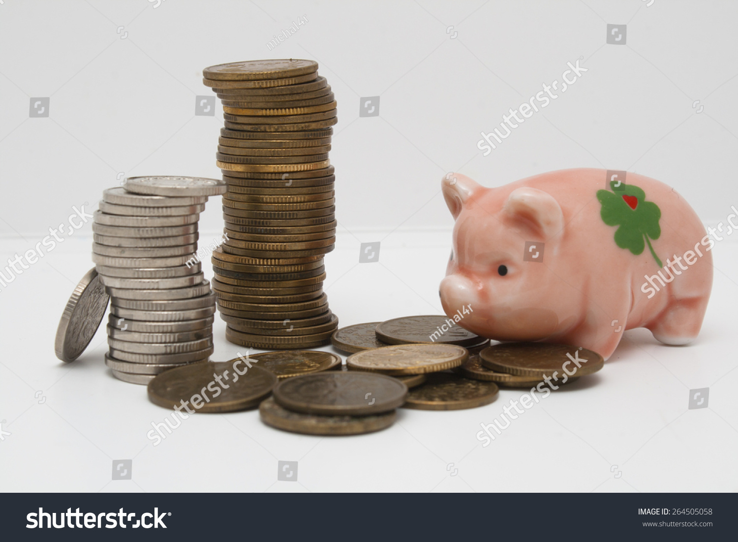 Piggy Bank Happiness Symbols On White Stock Photo Edit Now