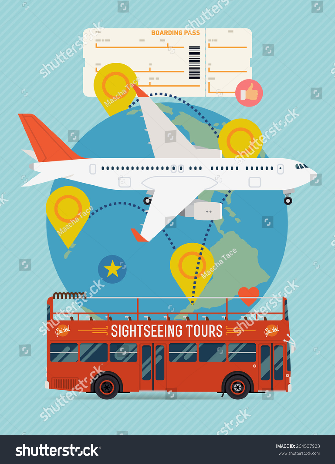 Vector cool flat design web banner on airline tickets and travel with jet airliner flying sightseeing bus boarding pass ticket and globe with clouds route marks and location pins