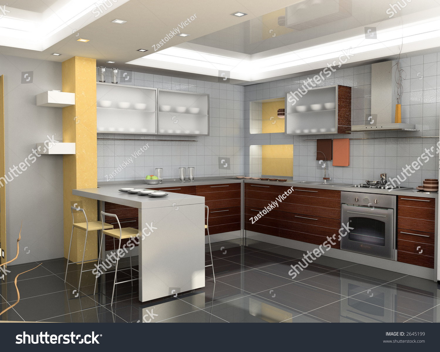Modern kitchen interior design 3d rendering stock photo for Official interior design