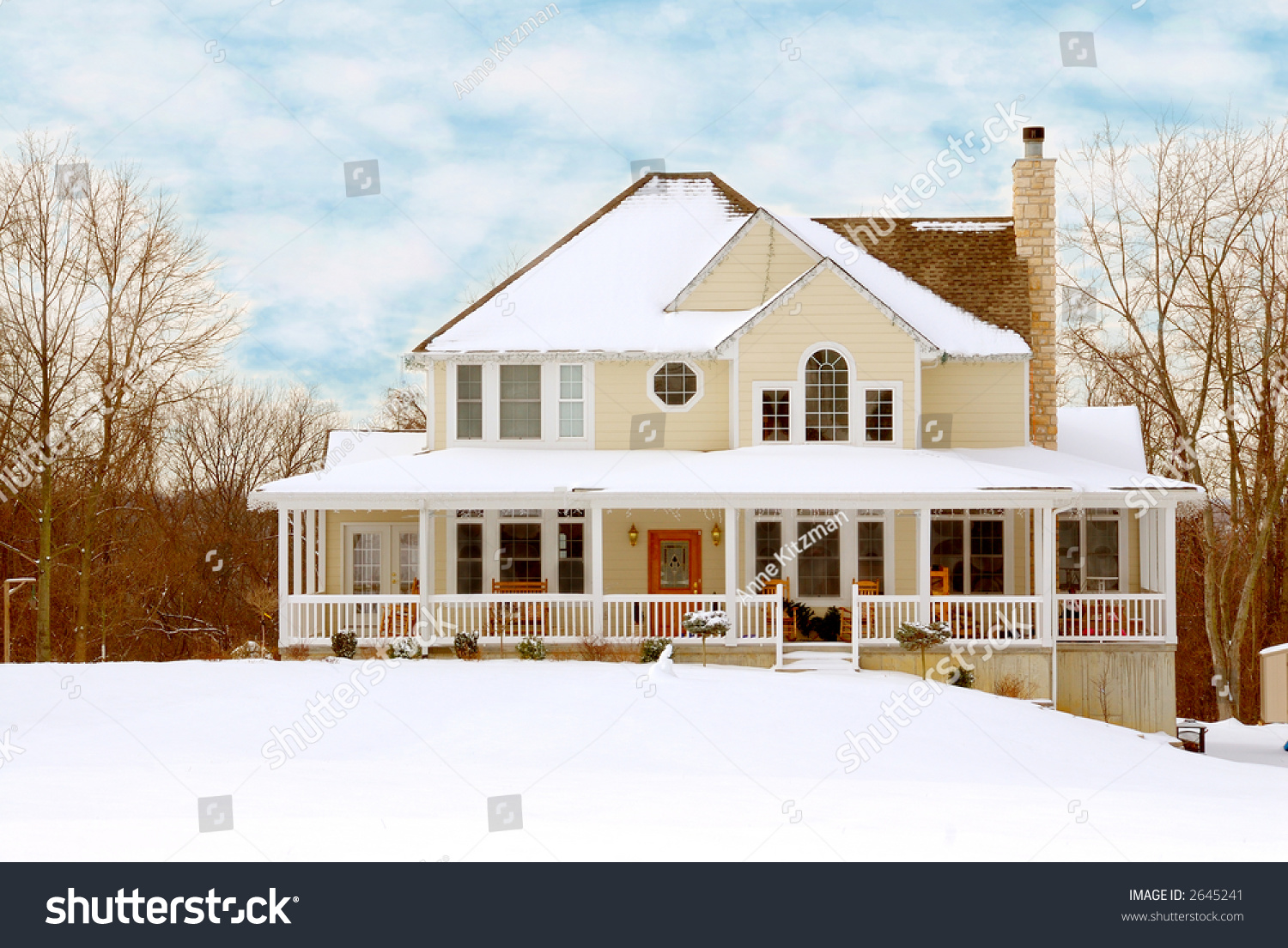 Charming Two Story Farmhouse In The Country On A Snowy