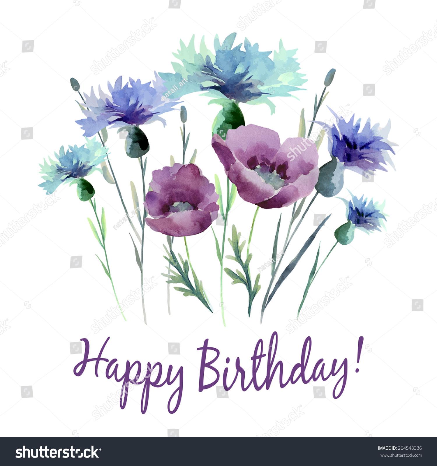 Watercolor Flowers Card Invitation Card Birthday Stock Vector