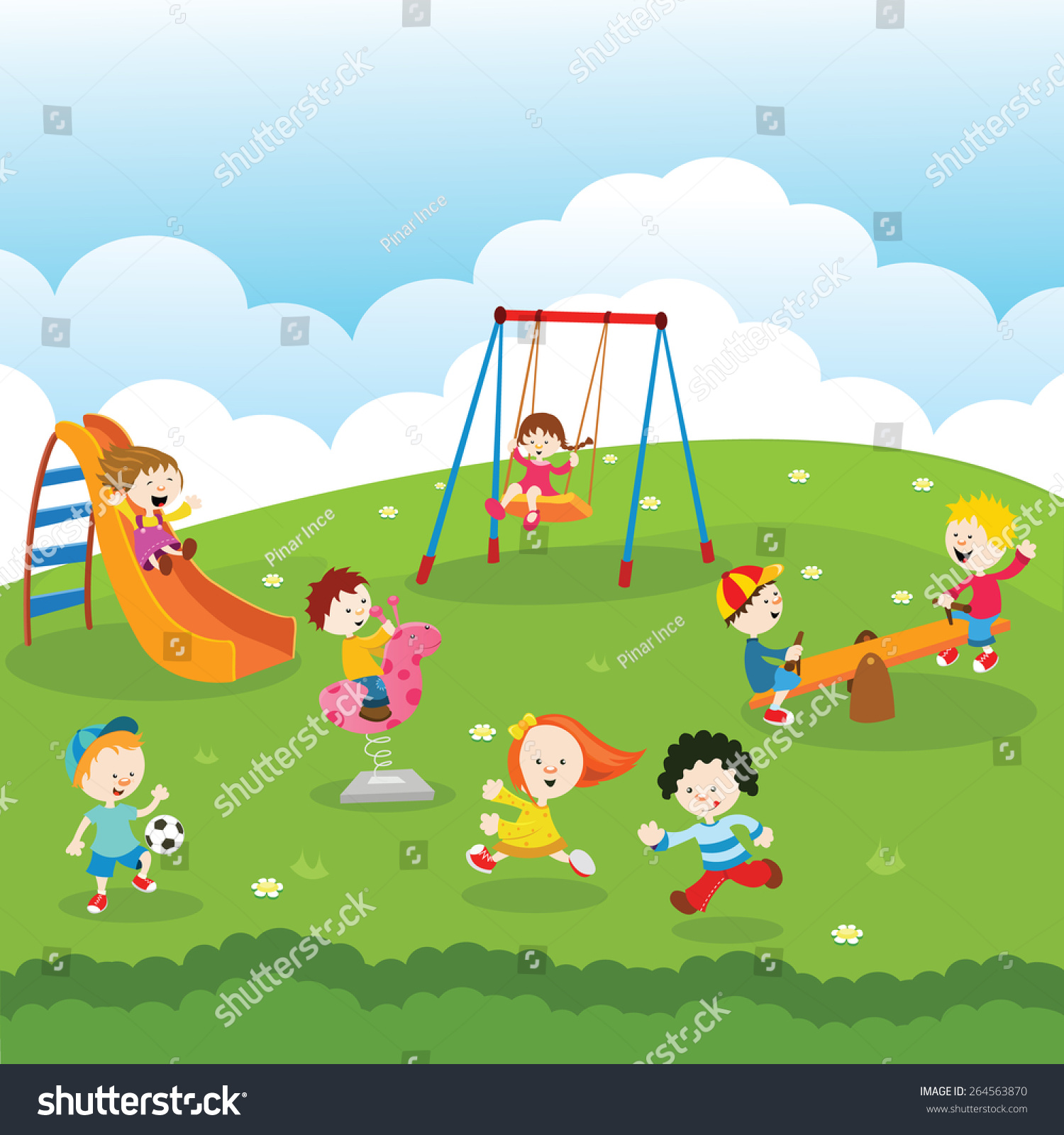 kids park stock vector 264563870 shutterstock sports equipment clipart free Sports Clip Art