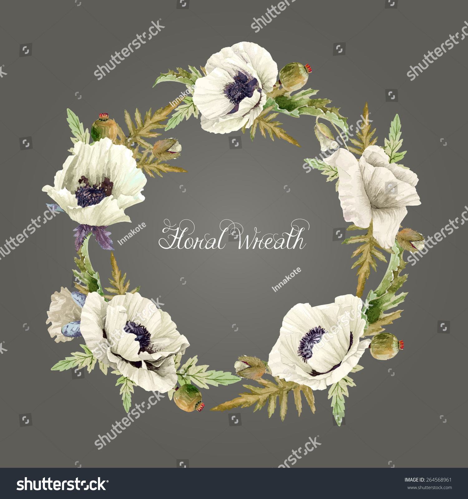 Vector round frame with pink flowers on white background in pastel - Round Frame Of Watercolor White Poppies Vector Illustration Wreath Of Flowers Can Be Used