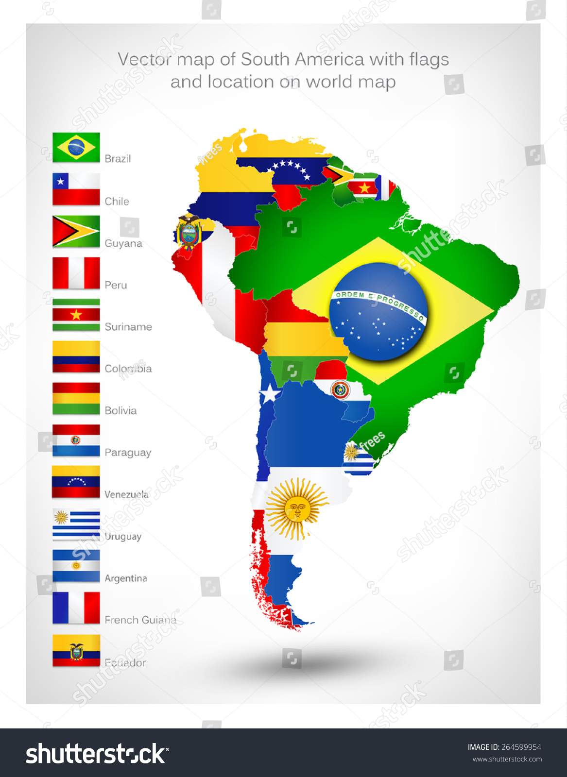 Vector Map South America Flags Location Stock Vector - South america map and flags