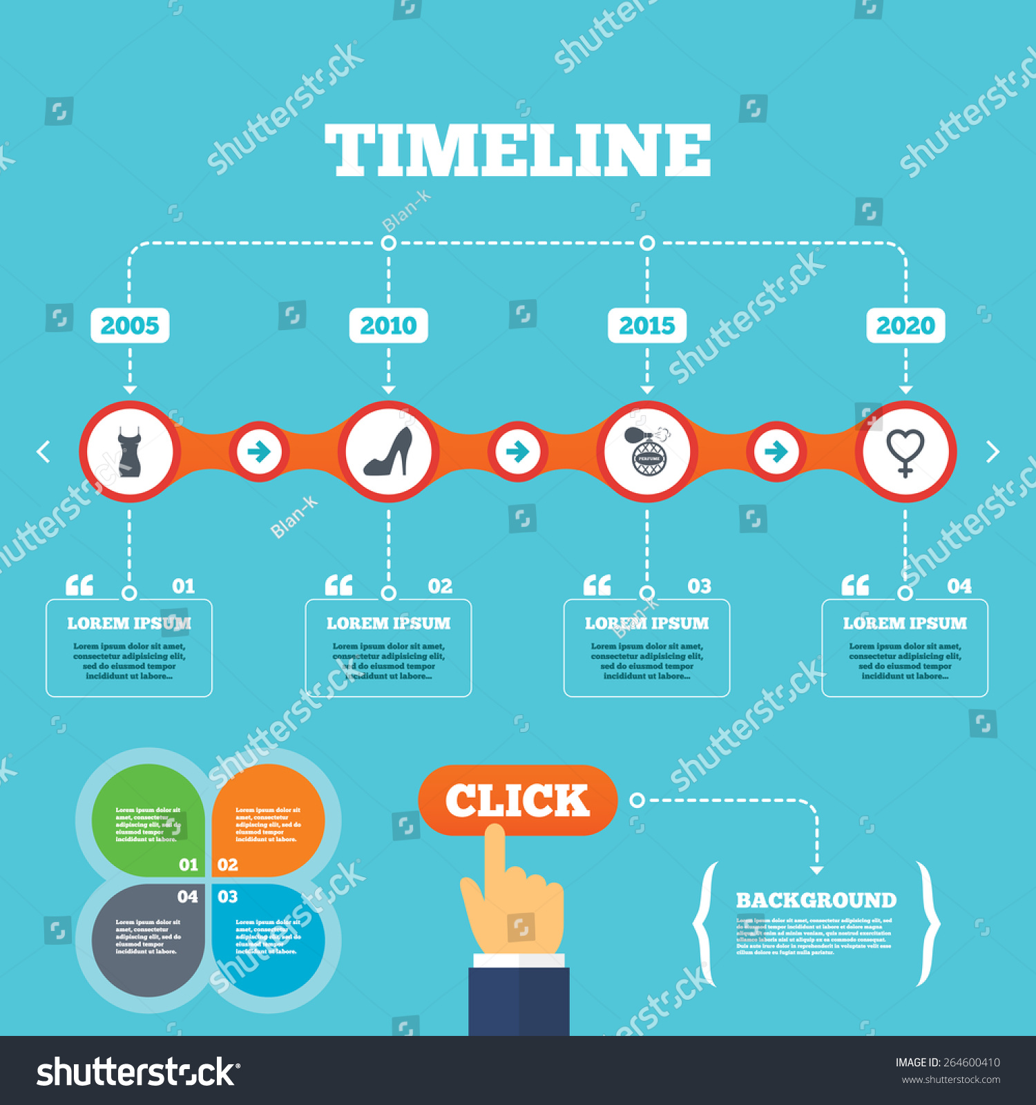 Timeline Arrows Quotes Women Dress Icon Stock Vector