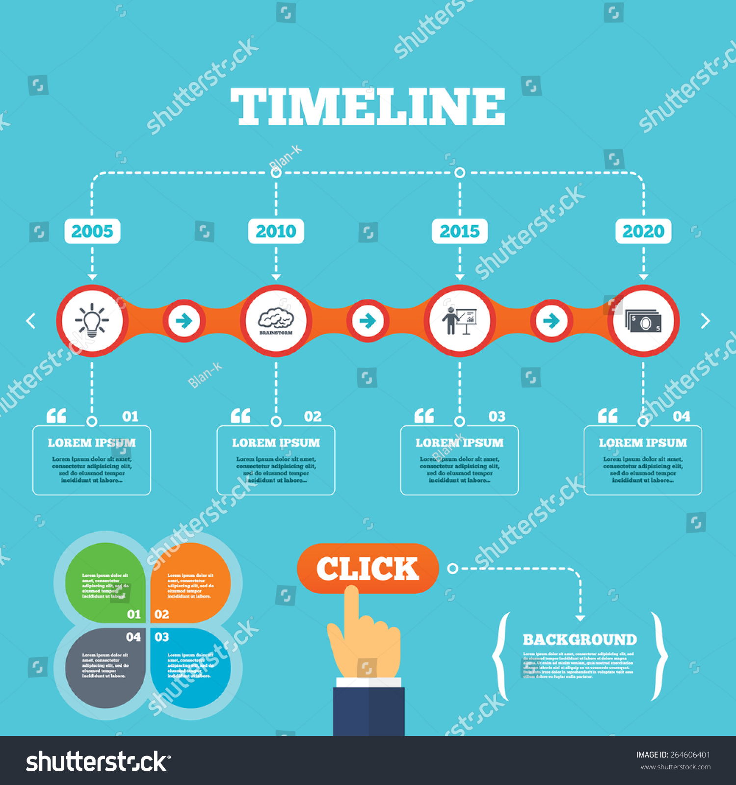 Timeline Arrows Quotes Presentation Billboard Brainstorm Stock ...