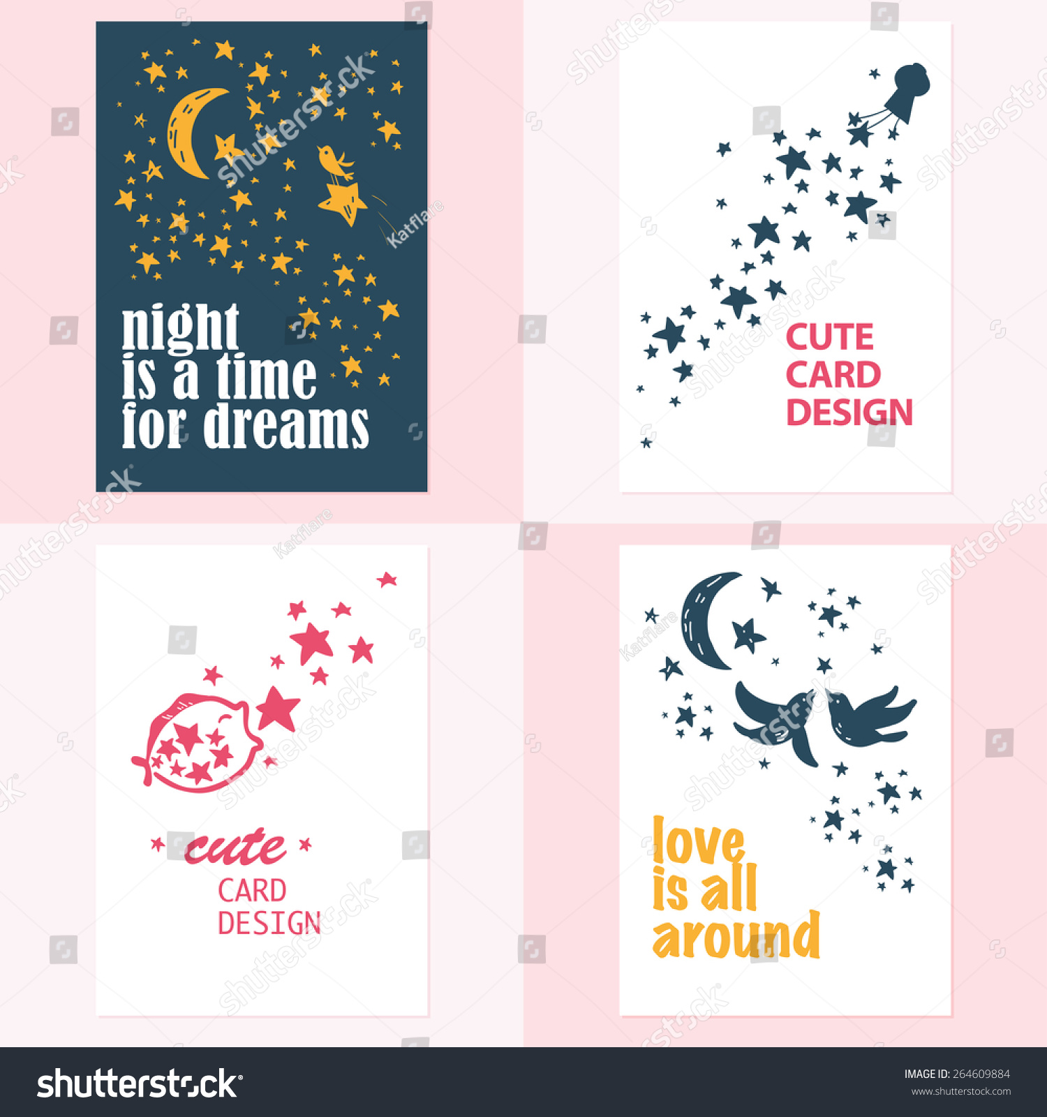 vector set beautiful hand drawn cards stock vector, Birthday card