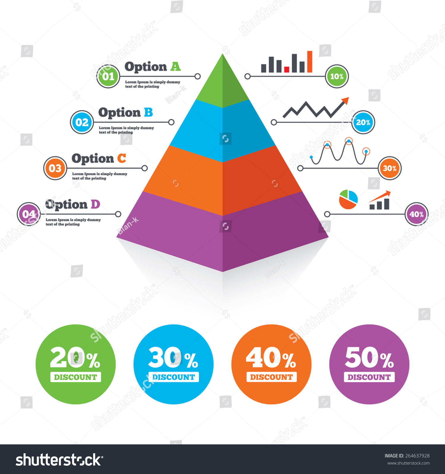 pyramid chart template sale discount icons stock vector royalty