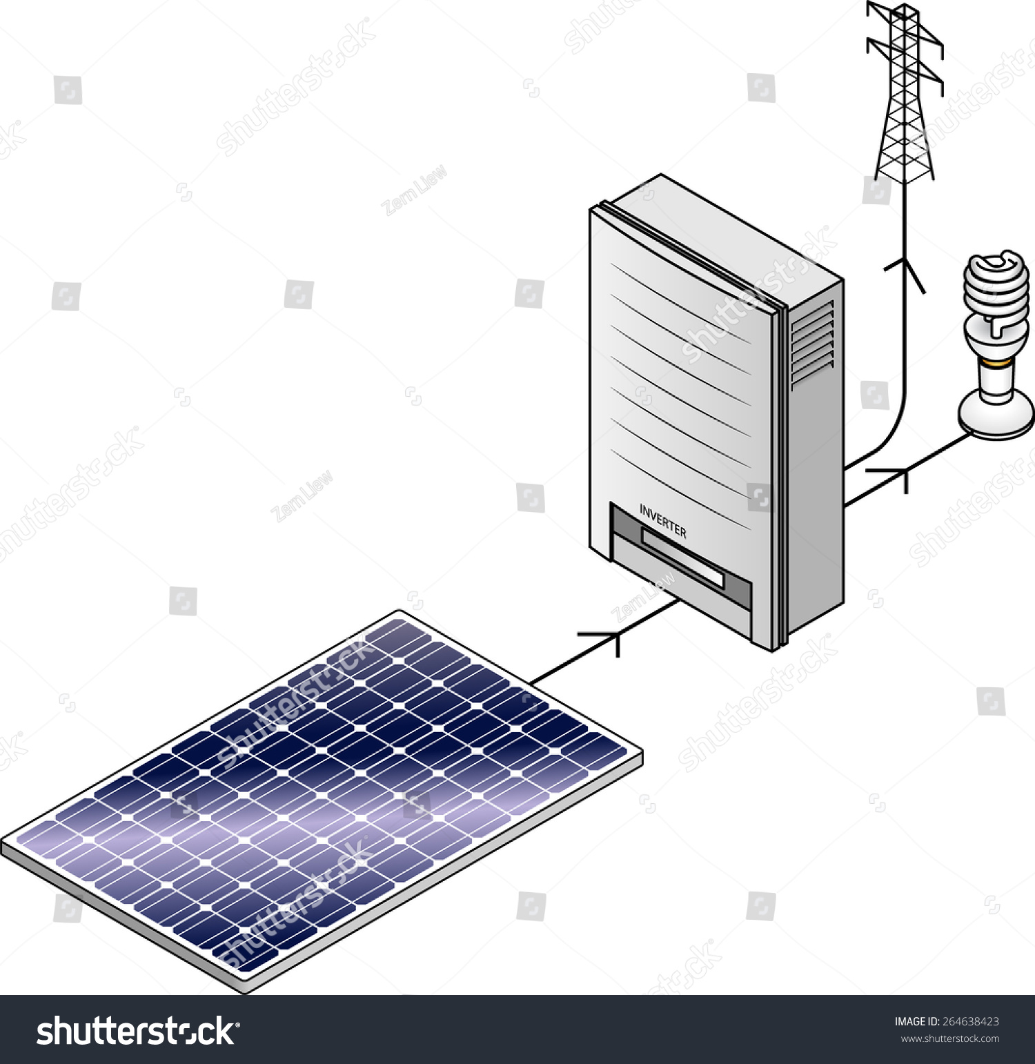 Setup Diagram Domestic Household Solar Power Stock Vector Royalty Of A Panel Kit With Polycrystalline Panels And Inverter
