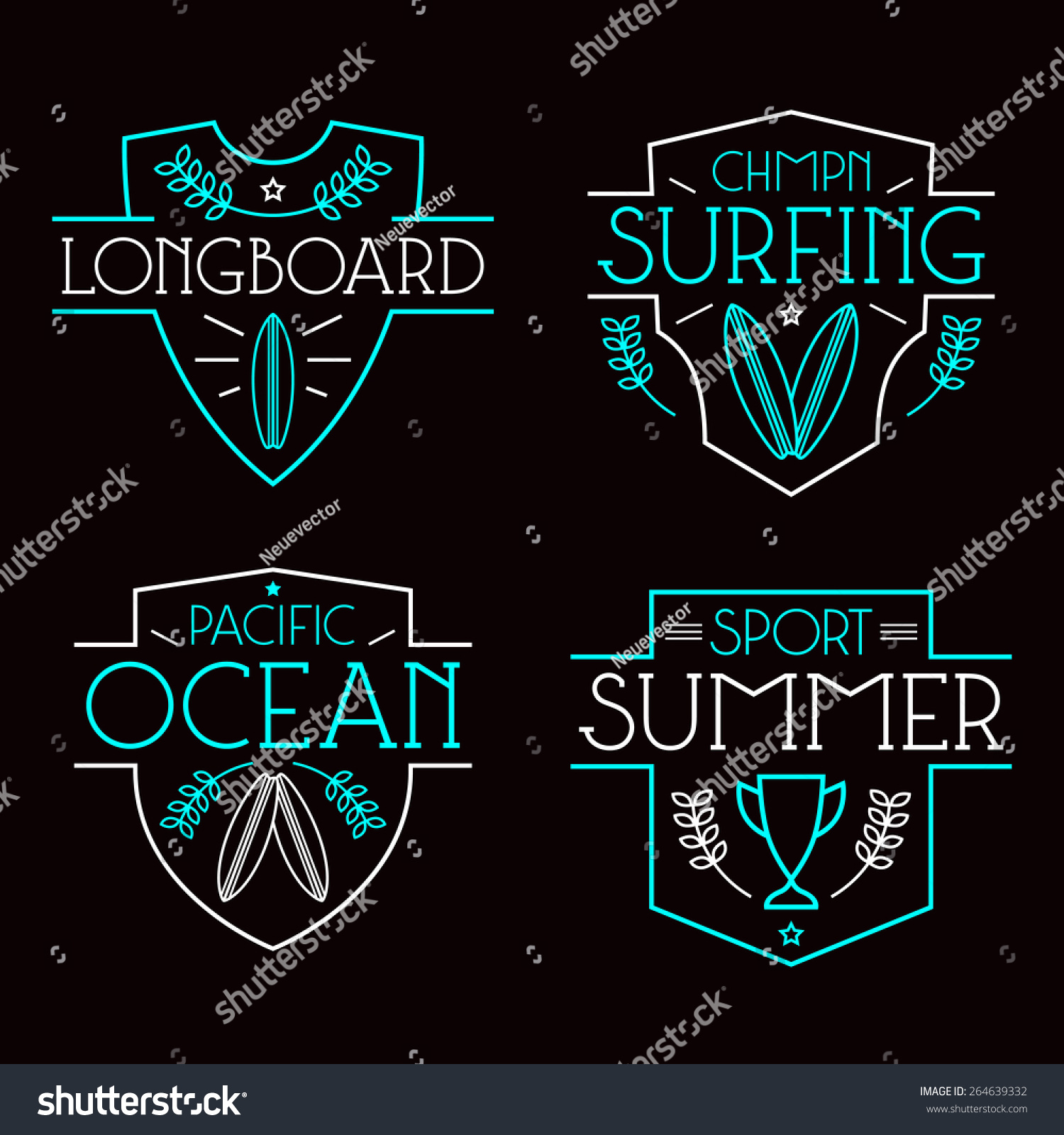 Design t shirt neon colors - Surfing Badges And Icons In Thin Line Style Graphic Design For T Shirt